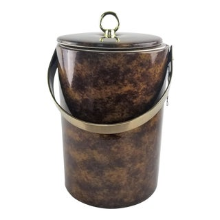 Georges Briard Tortoise Brown & Brass Wine Cooler Ice Bucket For Sale
