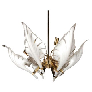 1960's Murano Glass and Brass Six Light Chandelier For Sale