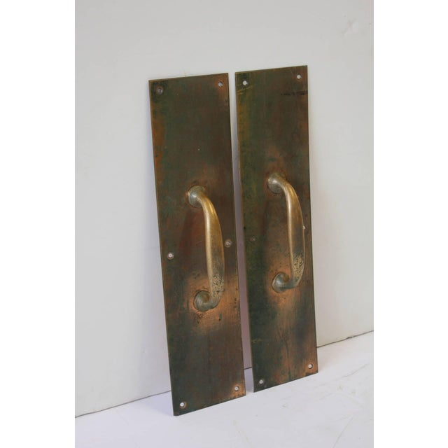 Rustic Antique Copper and Brass Entry Door Pull Hardware- A Pair For Sale - Image 3 of 4