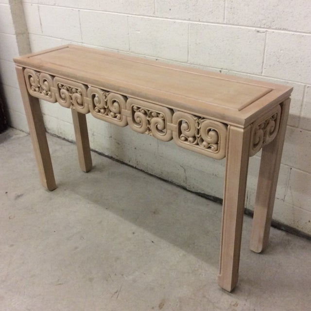 Fantastic console in a white washed finish. Asian style filigree carving. Would be great lacquered it used as is. Great...