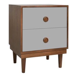 Lukka Modern Kids 2-Drawer Nightstand in Walnut With Gray Finish For Sale