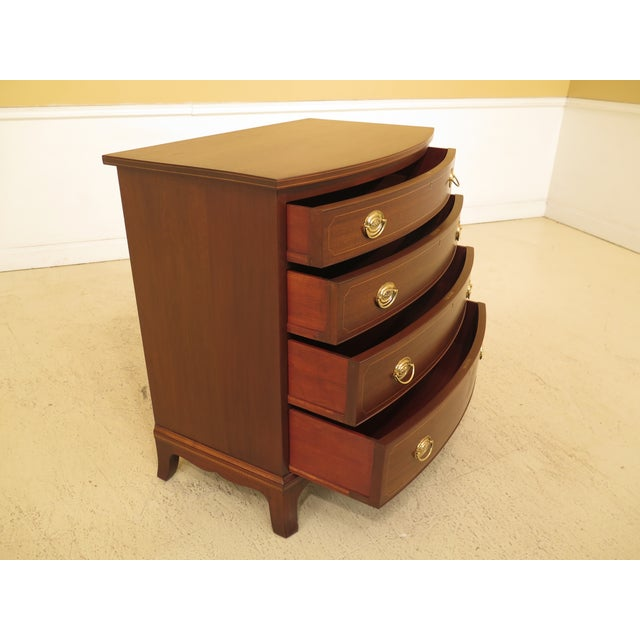 1960s Federal Biggs Inlaid Mahogany 4 Drawer Bow Front Chest For Sale - Image 4 of 13