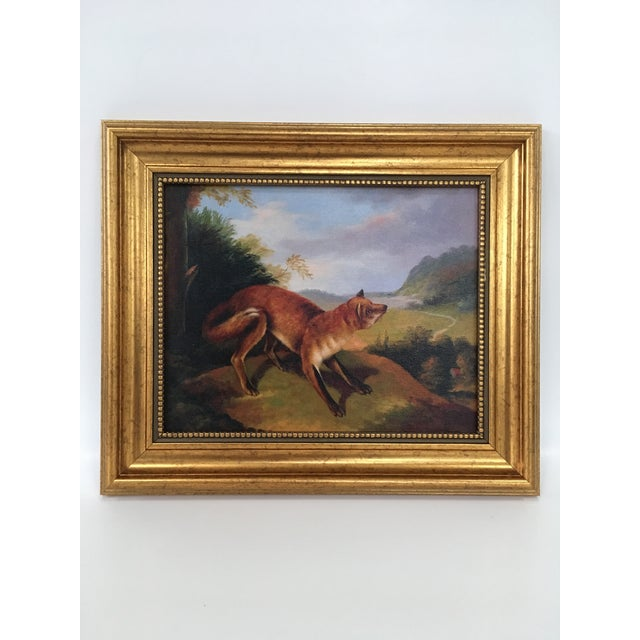 Framed Fox In Landscape Painting For Sale - Image 4 of 4