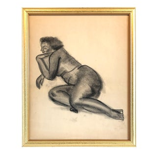 1950s Nude Female Charcoal and Pencil Drawing For Sale