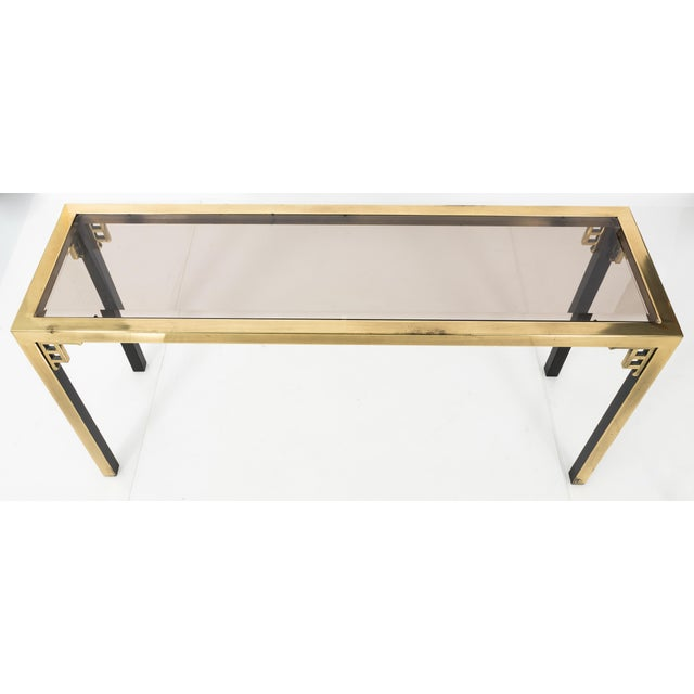 Asian 1970s Brass Greek Key Console Table For Sale - Image 3 of 8