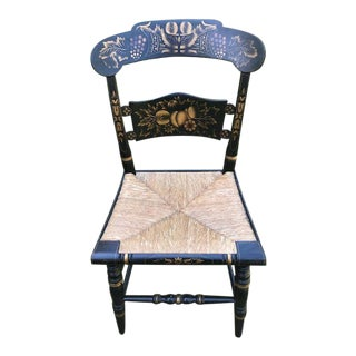 Hitchcock Harvest Pattern Black Side Chair For Sale