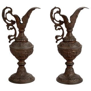 Tall Art Nouveau Bronze European Ewers With Scrolled Handles - Pair For Sale