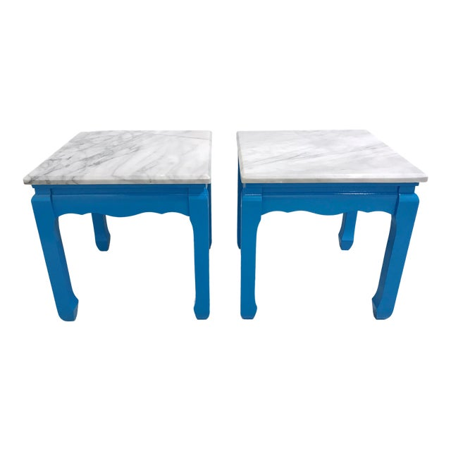 20th Century Ming Blue Chow Leg Marble Side Tables - a Pair For Sale