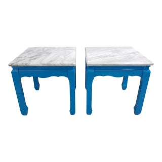 20th Century Ming Blue Chow Leg Side Tables - a Pair For Sale