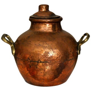 Vintage Hand Hammered Copper Bean Bowl Pot With Lid For Sale