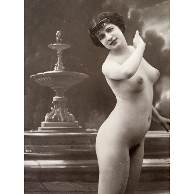 1900 - 1909 Antique French Studio Nude Female Photograph C1900 For Sale - Image 5 of 6