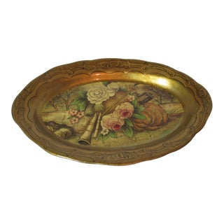 Hollywood Regency Decorative Oval Platter For Sale