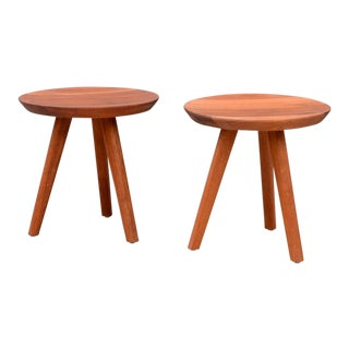 Pair of Sturdy Tripod Carved Wood Stools in the Style of Charlotte Perriand For Sale