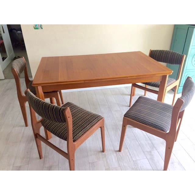 Danish Teak Dining Room Table Set - Image 6 of 9