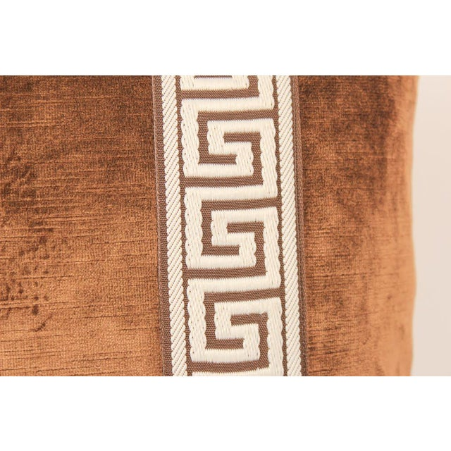 Espresso Velvet Greek Key Pillows, Pair For Sale - Image 4 of 7