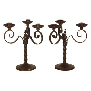 Pair of French Art-Deco Iron Candelabra For Sale