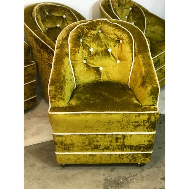 Hollywood Regency 1970s Milo Baughman Green Barrel Club Chairs- Set of 4 For Sale - Image 3 of 10