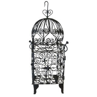 Moorish Iron Hanging Candle Lantern For Sale