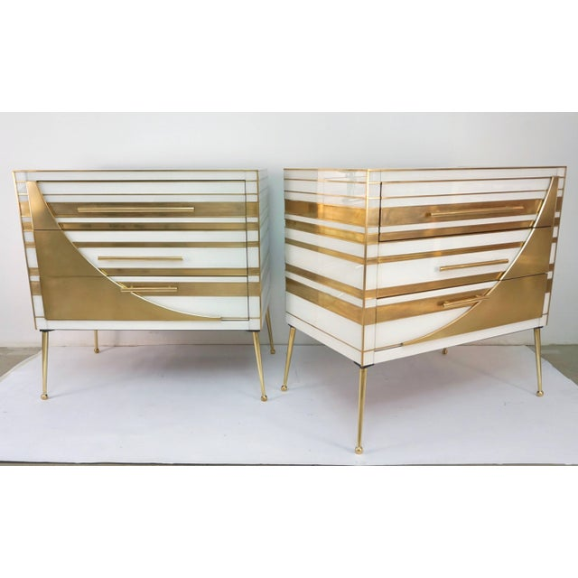 Art Deco Contemporary Italian Gold Brass and White Cream Glass Chests Side Tables - a Pair For Sale - Image 3 of 9