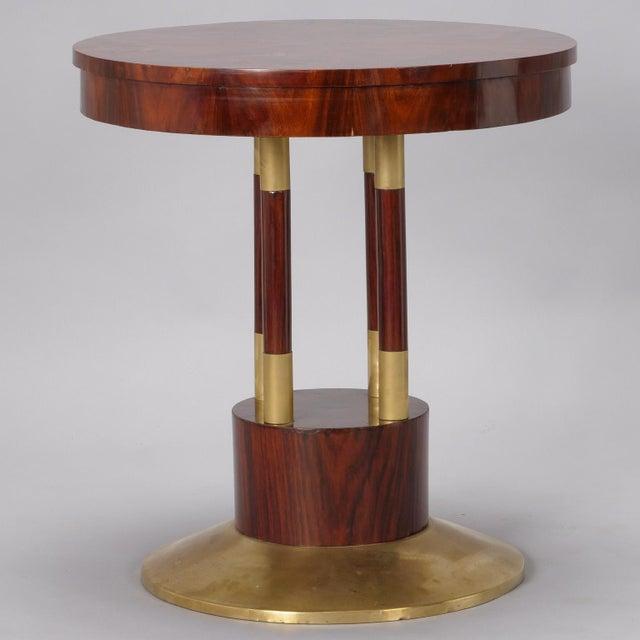 Round Jugendstil Rosewood and Brass Pedestal Table For Sale In Detroit - Image 6 of 7