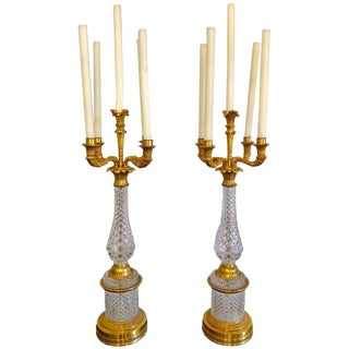 Pair of Bagues Style Cut Crystal & Gilt Brass Table Candelabras or Lamps For Sale