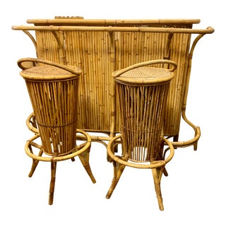 Mid Century Bamboo Rattan Dry Bar and Stools For Sale