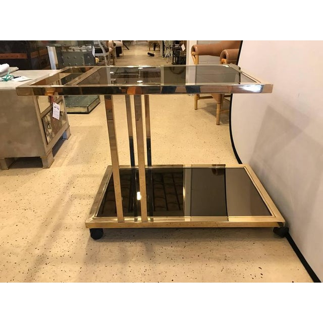 Italian Brass and Smoked Glass Bar Cart For Sale - Image 5 of 9