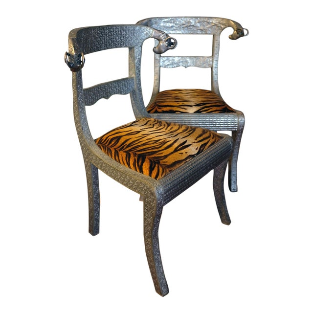 Antique Anglo-Indian Silvered Wrapped Wood Side Chairs - a Pair For Sale