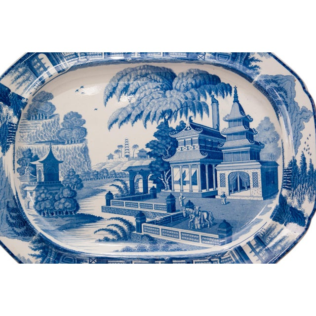 Asian Large 1820s Chinese Blue and White Porcelain Platter For Sale - Image 3 of 8