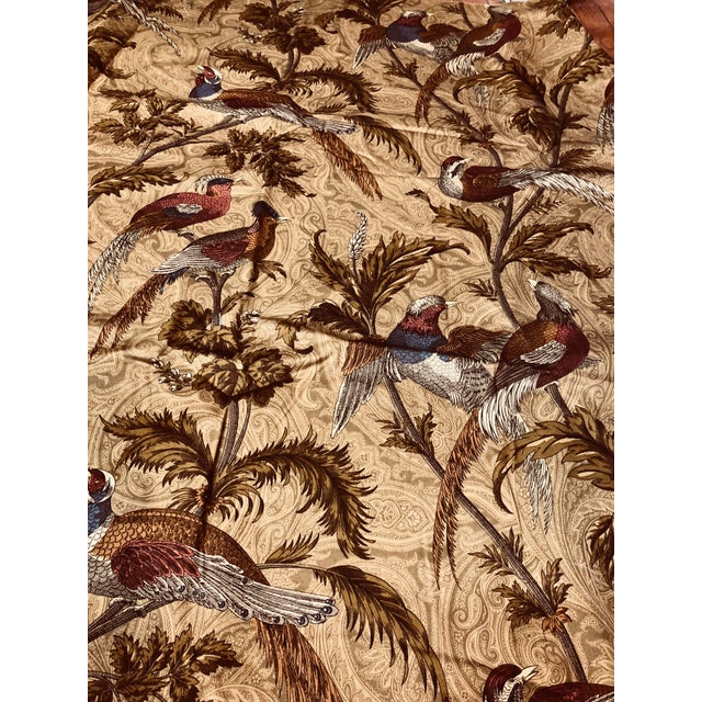 Rustic Feathered Birds in Trees a Braemore Design Screen Fabric For Sale - Image 3 of 7