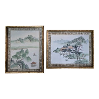 A Pair- Gilt Bamboo Framed Asian Silkscreens For Sale