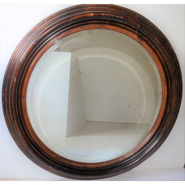 Boho Chic Baker Furniture Round Distressed Solid Maple Mirror For Sale - Image 3 of 11