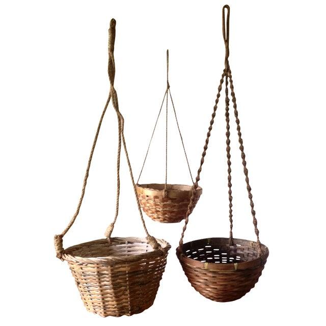 Vintage Hanging Wicker Baskets - Set of 3 - Image 1 of 11