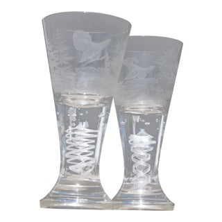 19th Century Antique Etched Water Goblets - a Pair For Sale
