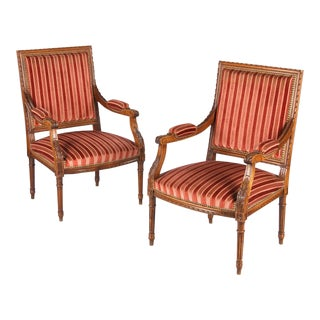 French Louis XVI Style Armchairs - A Pair For Sale