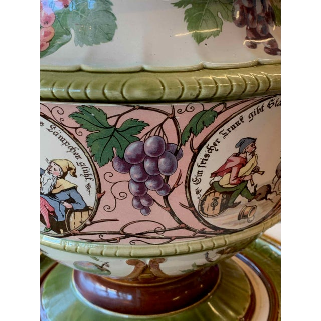 Grand, Mettlach covered punch or wassail bowl on matching tray. Pattern # 1193. The perfect vessel for serving mulled...