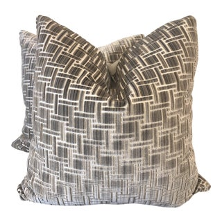 """Kravet Couture """"Inside Tracks"""" in Sandstone 22"""" Pillows-A Pair For Sale"""
