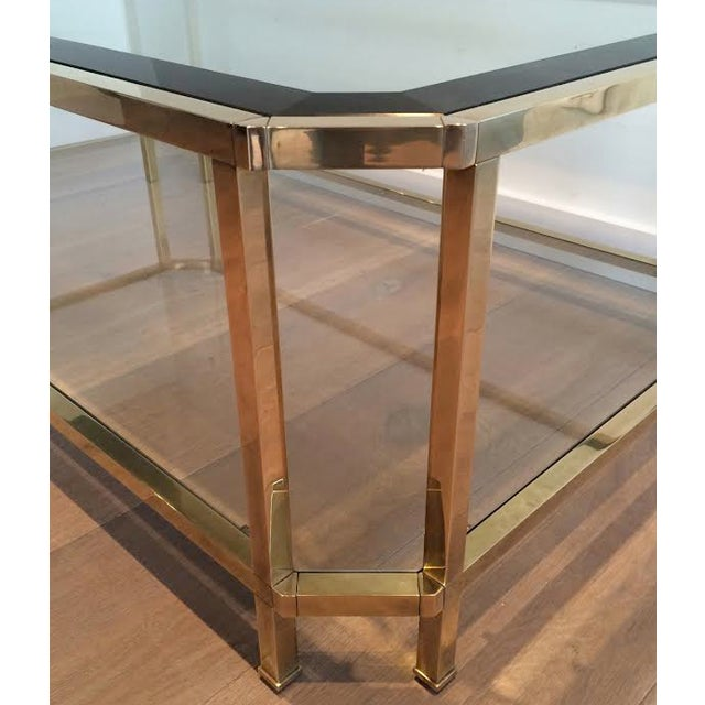 1970s Mid Century Modern Roche Bobois Two Tiered Brass Coffee Table With Octagonal Corners and Beveled Top Glass Circa 1970 Pair of Tables For Sale - Image 5 of 6