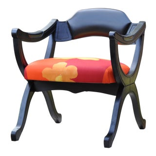 1920s Vintage Marimekko Design Fabric Empire Style Black Lacquer Trestle Chair For Sale