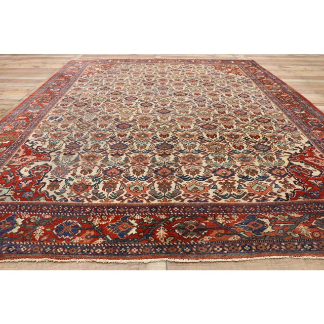 Textile 1920s Antique Persian Mahal Rug- 8′8″ × 11′7″ For Sale - Image 7 of 10