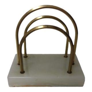 Vintage Alabaster and Brass Letter Holder For Sale
