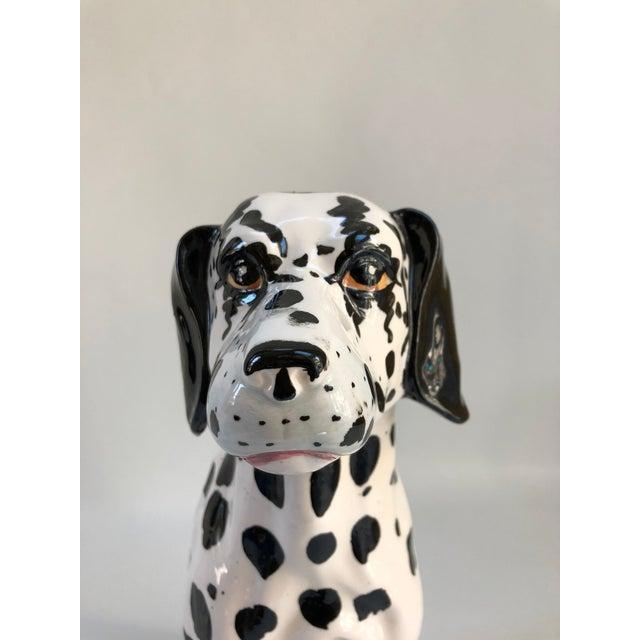 Large Mid-Century Italian ceramic dalmation dog figurine with felt underside. Beautifully hand-painted and detailed....