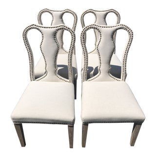 Upholstered Queen Anne Dining Chairs- Set of 4 For Sale