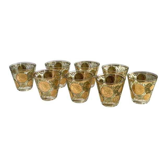 Culver Gold Liberty Coin Glasses - Set of 8 - Image 1 of 7