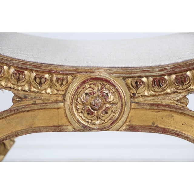 1940s Italian Vintage Neoclassical Giltwood Bench For Sale - Image 5 of 9