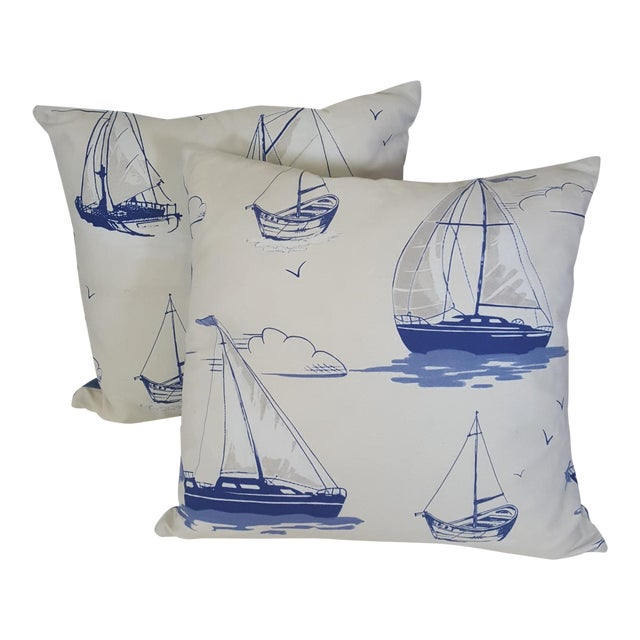 Blue Sailboat Accent Pillows - a Pair For Sale