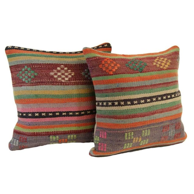 Turkish Kilim Pillow Covers - A Pair - Image 3 of 6