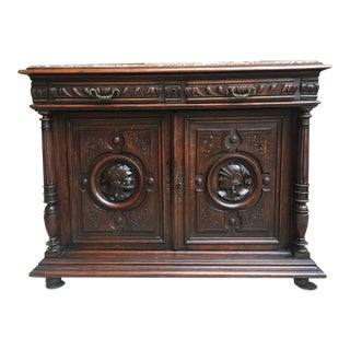 19th Century Antique French Carved Oak Sideboard For Sale