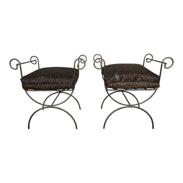 Pair Of Iron Benches W Leopard Seat Cushions