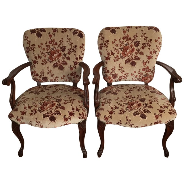 Floral French Provincial Chairs- A Pair - Image 1 of 7